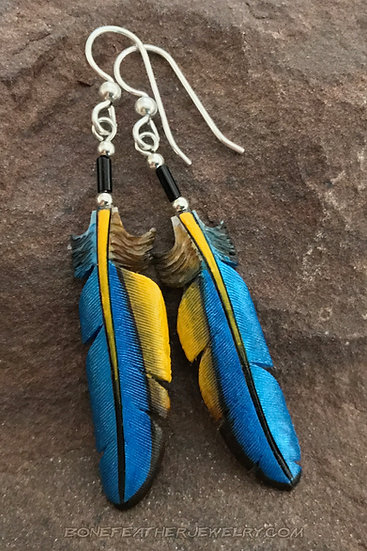 Macaw (Blue & Gold) Bone Feather Jewelry