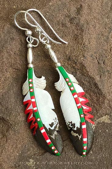 Golden Eagle Green w-Multi notch Bone Feather Jewelry