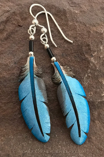 Blue-Winged Teal Duck Secondary Bone Feather Jewelry