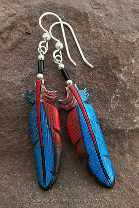 Scarlet Macaw Primary Bone Feather Jewelry