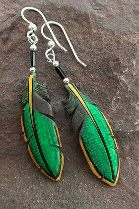 Green Heron Secondary Bone Feather Jewelry