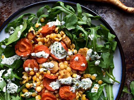 Roasted Carrot & Parsnip Lentil Salad