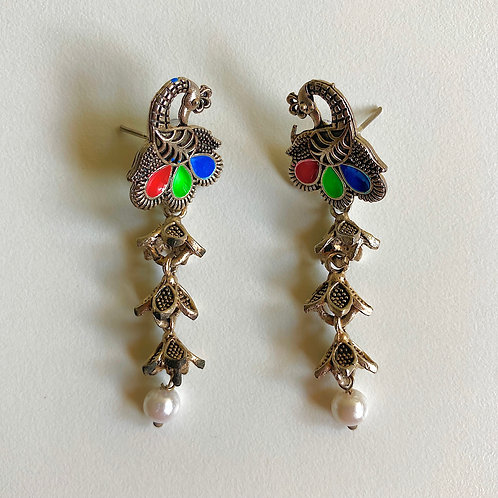 Peacock Enamel Stud Earrings