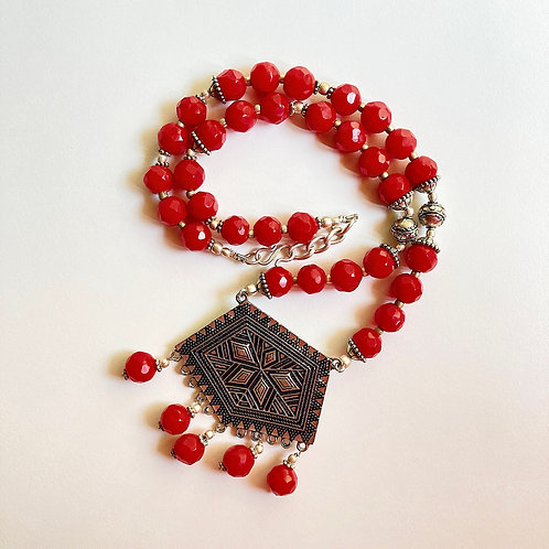 Red Beads Statement Necklace