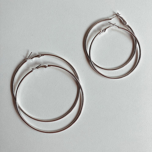 Large Silver Tone Hoops