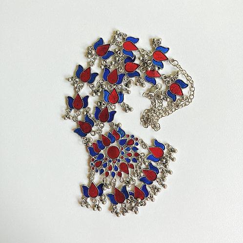Red & Blue Lotus Enamel Statement Necklace