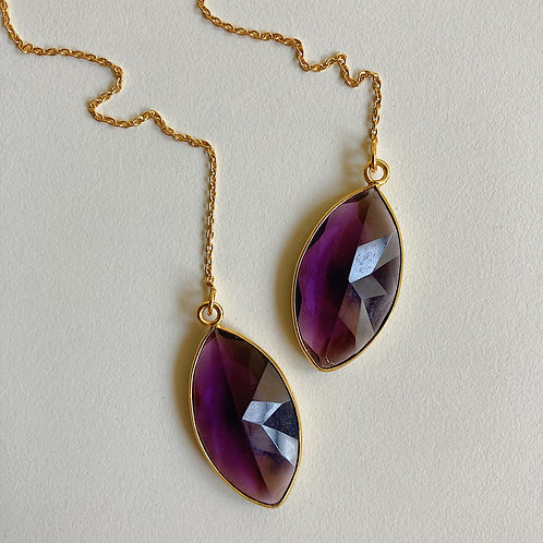 Violet Crystal Marquis Threaders