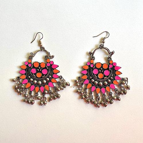 Fushcia Orange Enamel Chandbali Earrings
