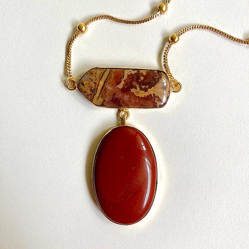 Jasper Goddess Tiered Pendant Necklace