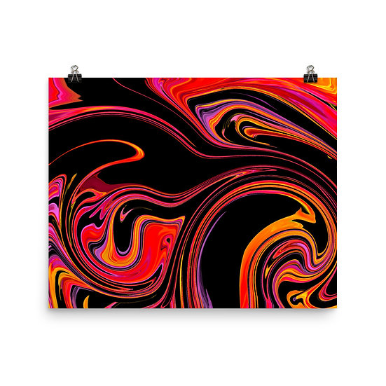 Black Pink Orange Swirl Matte Print
