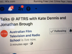 Facebook Event Title: Talks @ AFTRS with Kate Dennis and Jonathan Brough