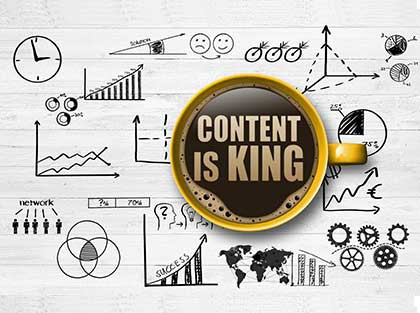 Image with coffee mug and content is king