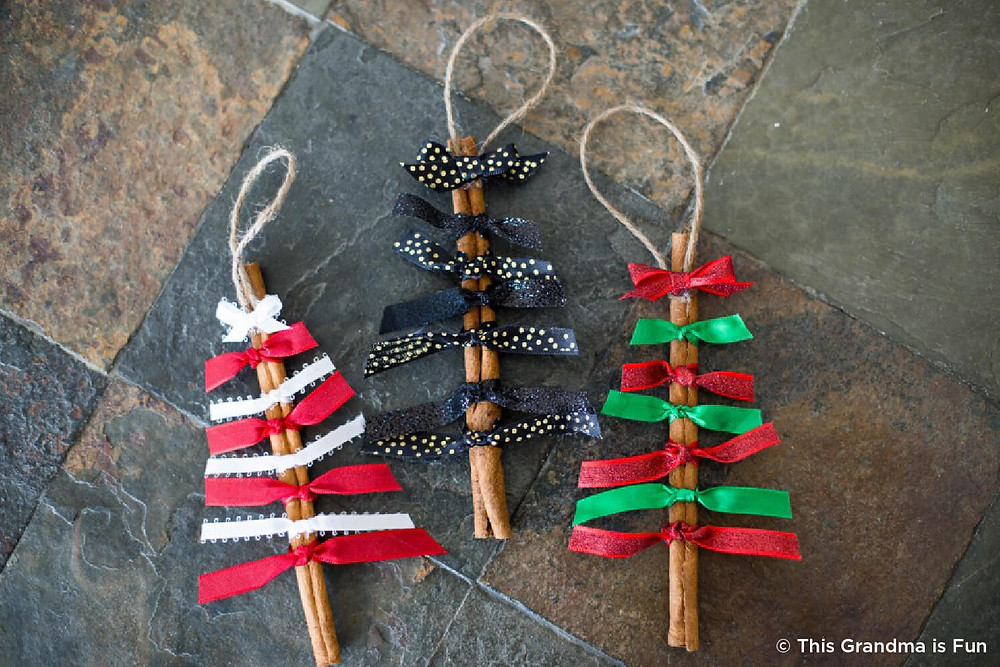 Christmas tree ornaments made from cinnamon sticks- Heaven Sent Child Care Center