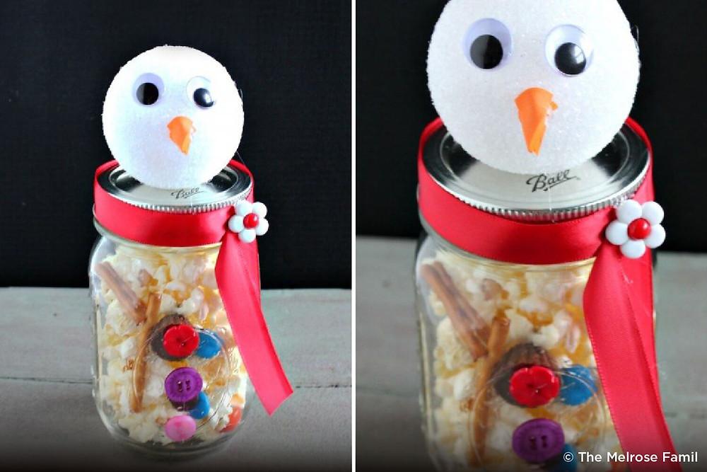 Image of snowman jar with popcorn - Heaven Sent Child Care Center