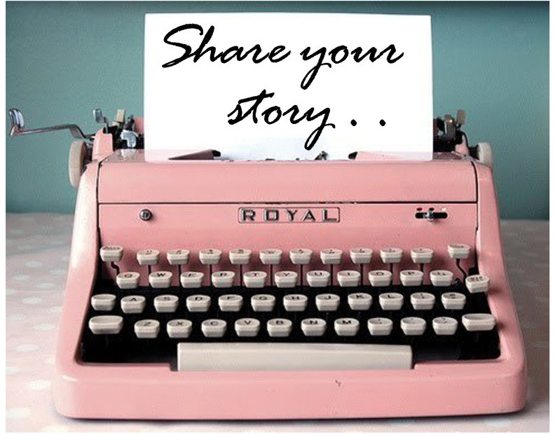 Pink Typewritter with Share Your Story...