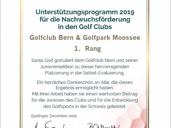 Swiss Golf Evaluationsprogramm – 1. Rang für Golfclub Bern & Golfpark Moossee!