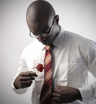 African businessman with a stain on his
