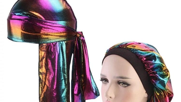 Fashion sparkly Silk Durag Bandana Headwear Colorful Wide Doo Rag Bonnet P