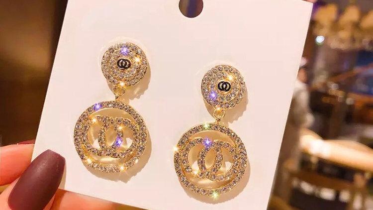 Luxury Rhinestone Geometric Drop Earrings for Women Girls 2020 New Bijoux Square