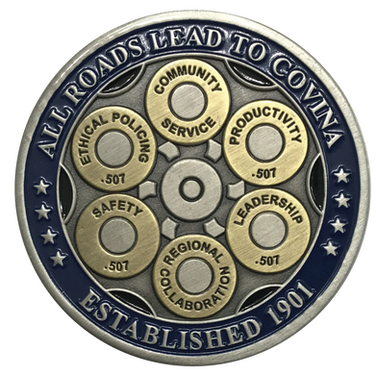 Brass coin, antique gold and antique silver, recessed enamel finish