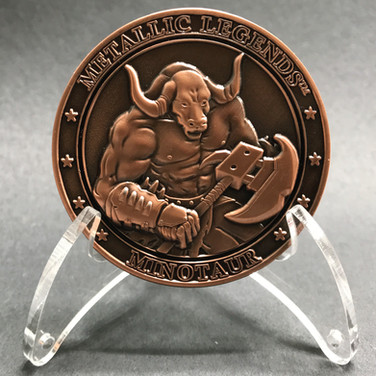 Zinc coin, antique copper plated, 3D image, recessed enamel finish