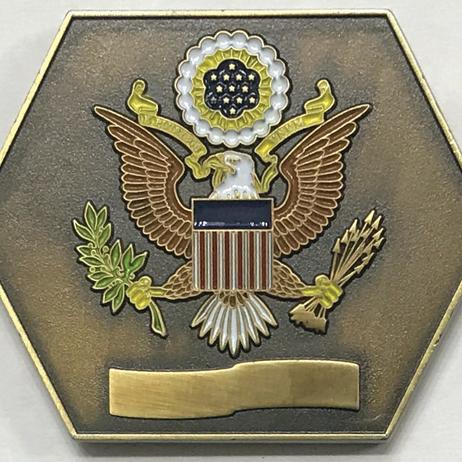 Zinc coin, custom shape, antique gold plated, recessed enamel finish