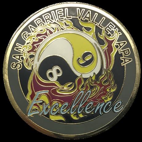 Brass coin, shiny gold plated, flush enamel finish
