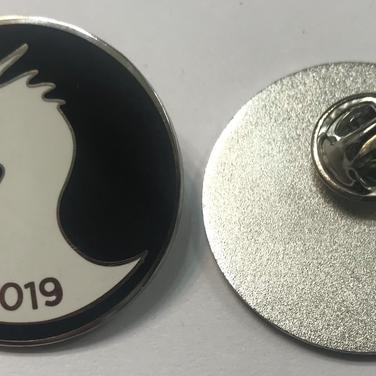Flush enamel pins, shiny silver plating