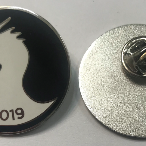 Flush enamel pins, shiny silver plating