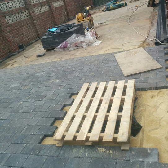 Paving being laid