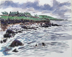 Schoolhouse and snorkelers (north from Ventry Pier)