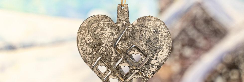 Juletrepynt - Hjerte metall