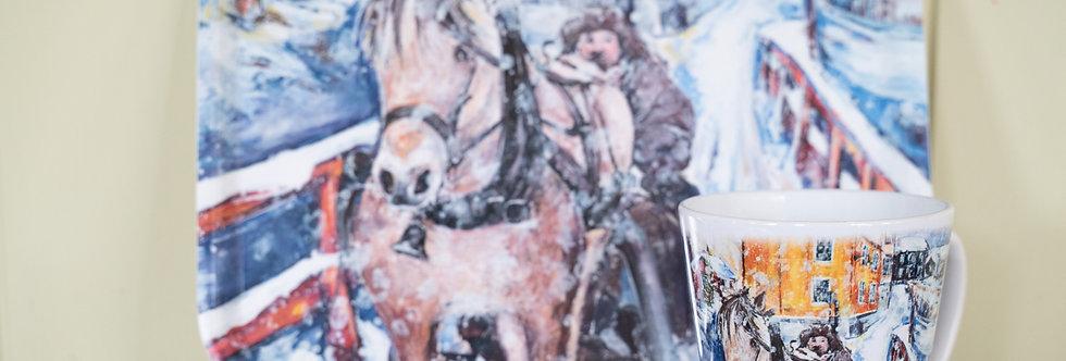 Frokostbrett/Krus - Hest og slede over Raubrua
