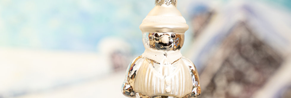 Juletrepynt - Snømann sølv