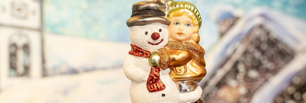 Juletrepynt - Jente m. snømann