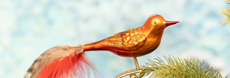 Juletrepynt - Fugl orange