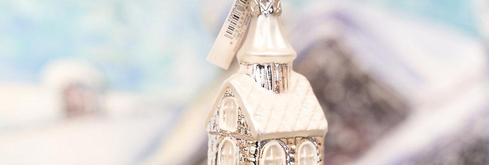 Juletrepynt - Hus sølv