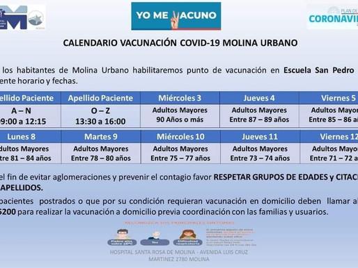 Calendario de vacunación COVID -19 de MOLINA URBANO