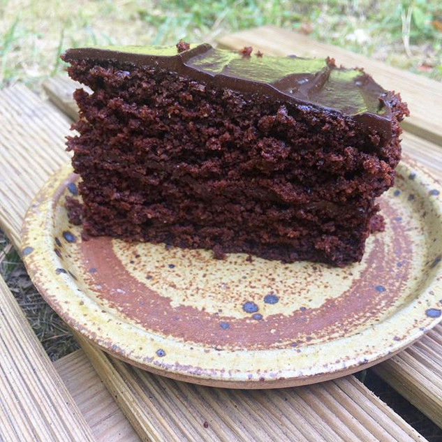 Double layer chocolate cake with avocado
