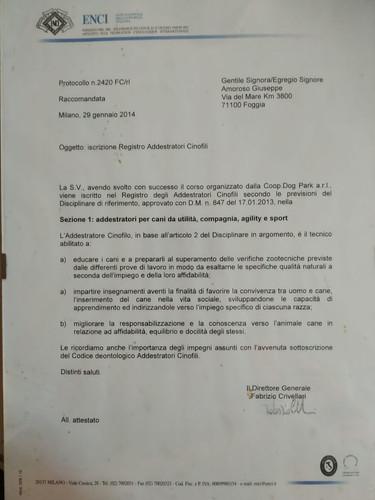 Iscrizione Registro Addestratori Cinofili ENCI