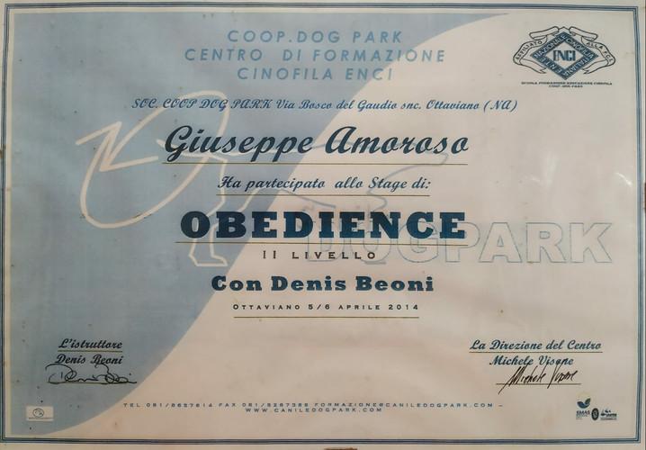Attestato Corso Obedience ENCI