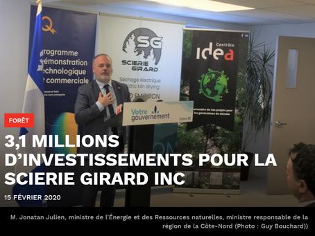 Investissement majeur pour la Scierie Girard