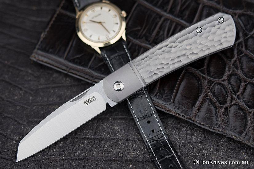 Pena Knives X-Series Apache Front Flipper Knife M390 Blade, Jigged Titanium