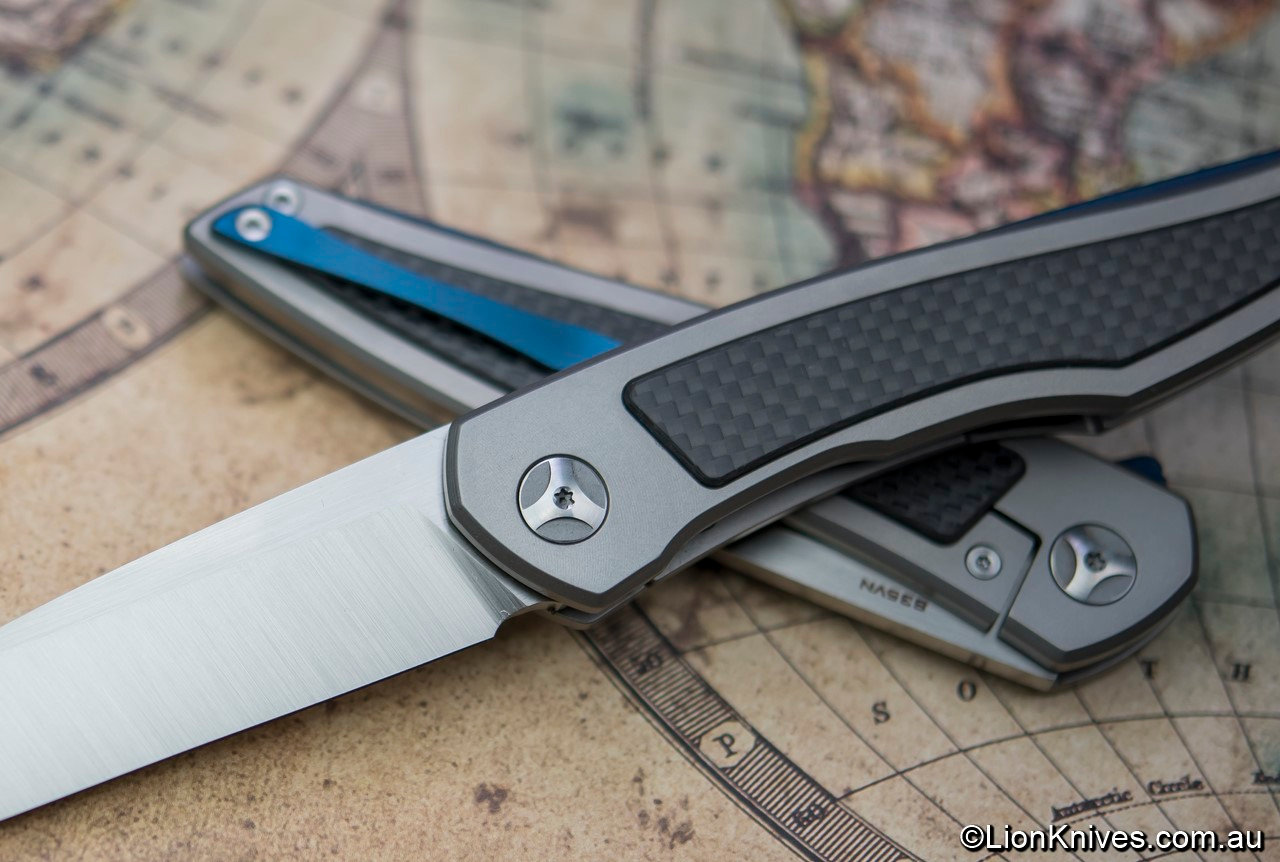 Piston Flipper Folding Knife, Bolster Lock S35VN, Titanium, Carbon Fiber