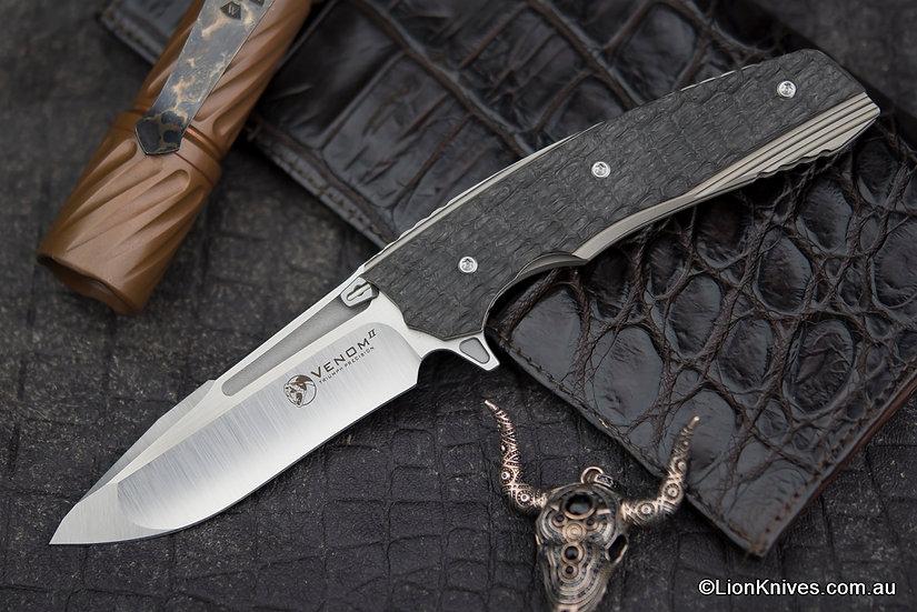 Venom Knives Mid Size VENOM II Knife M390 Blade, Titanium & Carbon Fiber Handle