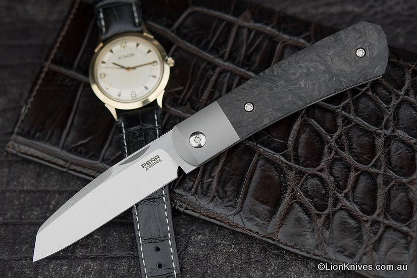 Pena Knives X-Series Apache Front Flipper Knife M390 Blade, Carbon Fiber