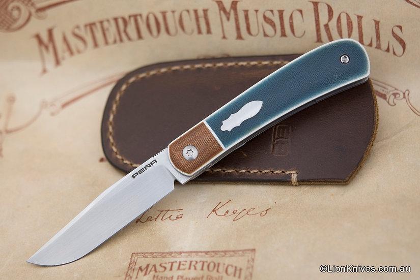 Enrique Pena Custom Trapper Front Flipper Knife Blue Micarta CPM-154 Blade