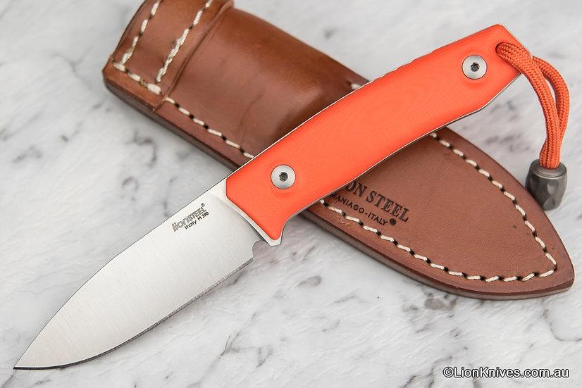 LionSteel M1 Fixed Blade Knife Orange G10 Handle M390 Steel Titanium Bead