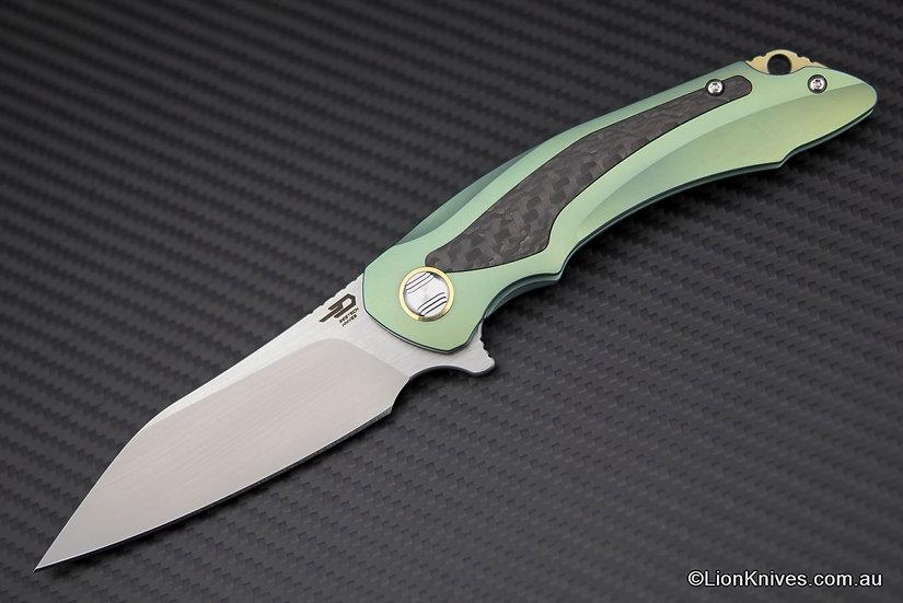 Bestech Pterodactyl Flipper Knife Titanium & Carbon Fiber Handle, S35VN Blade