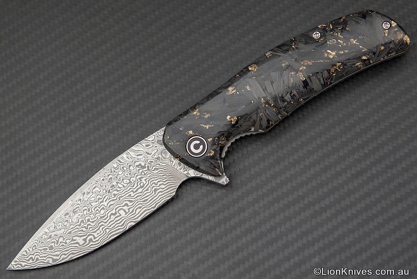 Civivi Incite Folding Knife Shredded Gold Foil Carbon FiberDamascus Blade